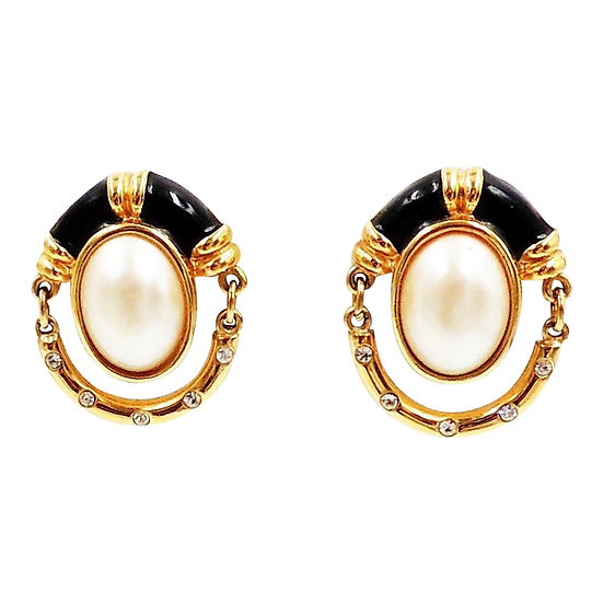 1980s Courrèges Black Enamel & Faux-Pearl Earrings