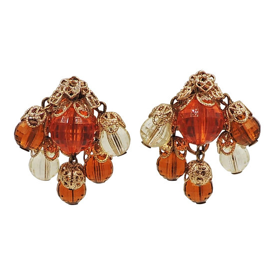 1950s Napier Orange and Yellow Faceted Resin Chandelier Earrings