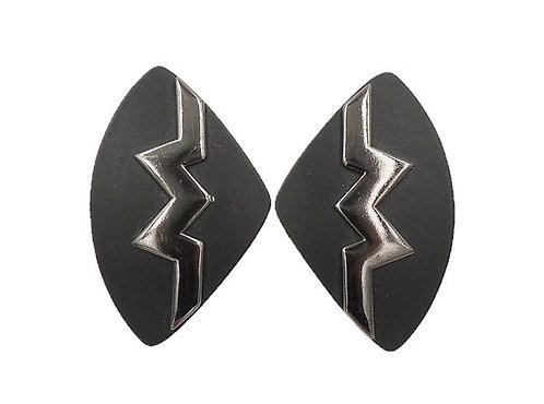 1980s Monet Black Lucite Modernist Earrings