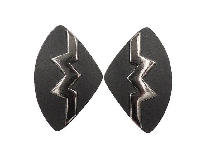 1980s Monet Black Lucite Modernist Earrings