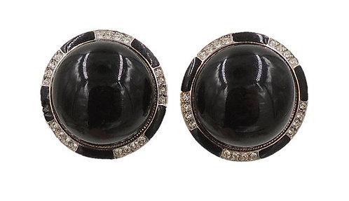 1980s Kenneth Lane Faux-Onyx Rhinestone Cabochon Earrings