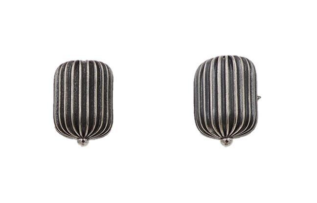 1960s Napier Silvertone Barrel Earrings