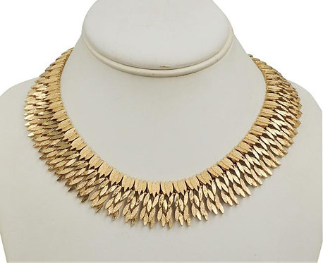 Monet Goldtone Textured Articulated Collar Necklace, 1966
