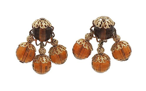 1950s Napier Brown Faceted Bead Earrings