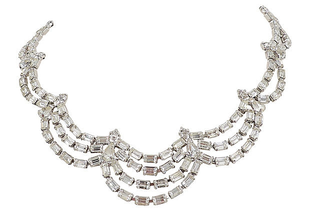 1950s Kramer of NY Rhinestone Festoon Necklace