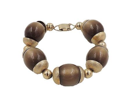 1950s Napier Goldtone Brown Moonglow Bracelet