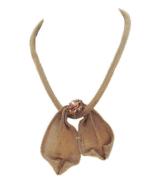 1950s Napier Book Piece Faux-Topaz Rhinestone Mesh Bow Necklace