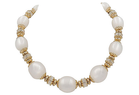 1950s Napier White Moonglow Necklace
