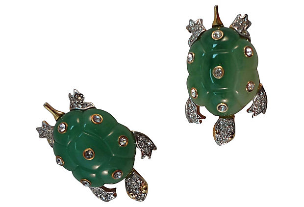 Kenneth Lane Turtle Earrings, 1985