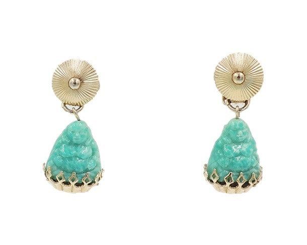 1960s Napier Faux-Jade Rhinestone Buddha Drop Earrings