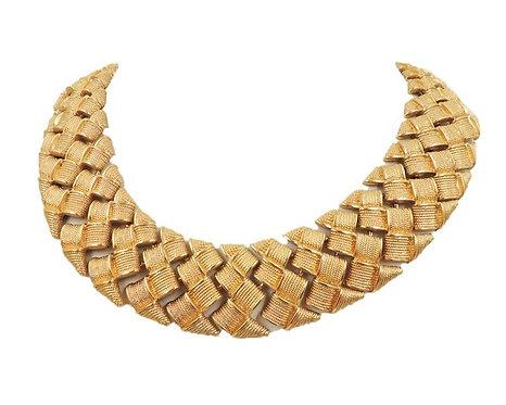 c. 1990 Napier Goldtone Wide Woven Necklace