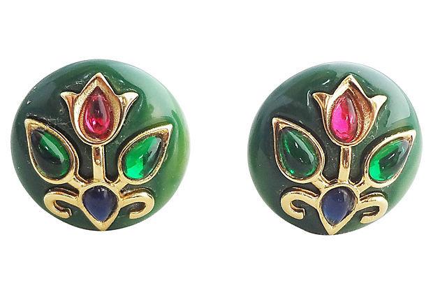 1960s Trifari Green Lucite Rhinestone Cabochon Earrings