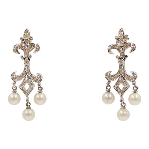 1960s Panetta Rhodium Plated Rhinestone & Faux-Pearl Chandelier Earrings