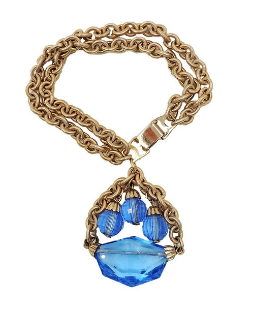 1950s Napier Blue Glass Charm Bracelet