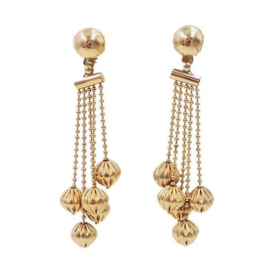 1960s Napier Goldtone Chandelier Beaded Clip Earrings