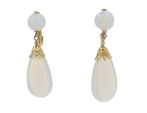 1960s Napier Faux-Moonstone Rhinestone Drop Earrings