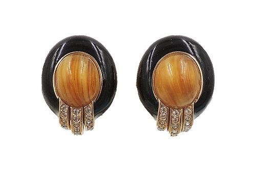 1980s Ciner Cabochon Faux-Agate & Black Enamel Earrings