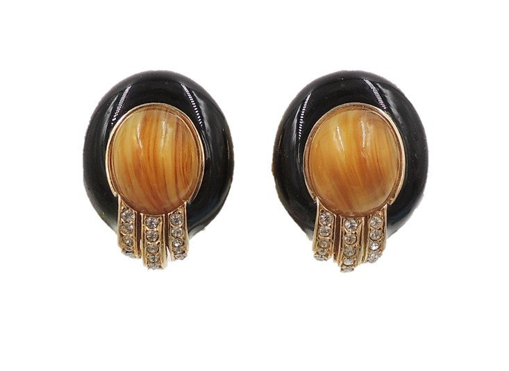 1980s Ciner Cabochon Faux-Agate & Black Enamel Earrings