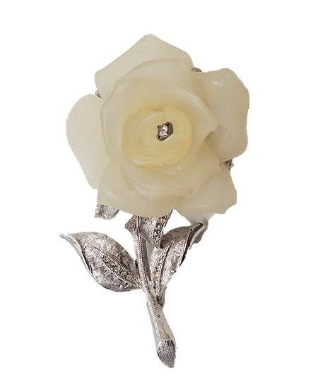 1970s Hattie Carnegie Rhodium Plated Lucite Rose Brooch