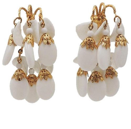 1970s Napier White Resin & Glass Chandelier Clip Earrings