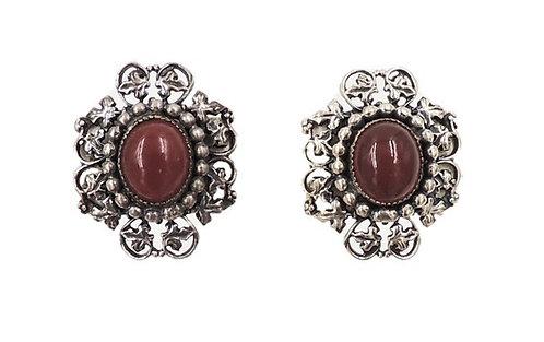 Napier Silvertone Faux-Carnelian Cabochon Clip Earrings