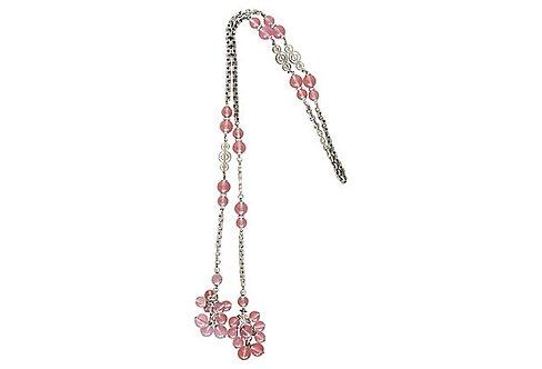 1960s Napier Purple Beaded Lariat Necklace