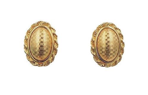 1960s Monet Domed Checked Earrings