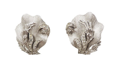 1960s Trifari Rhodium Plated & Rhinestone Shell Earrings