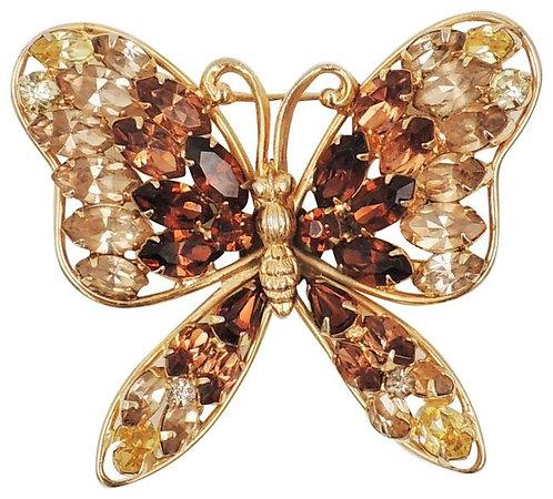 1950s Napier Book Piece Faux-Citrine & Faux-Topaz Butterfly Brooch