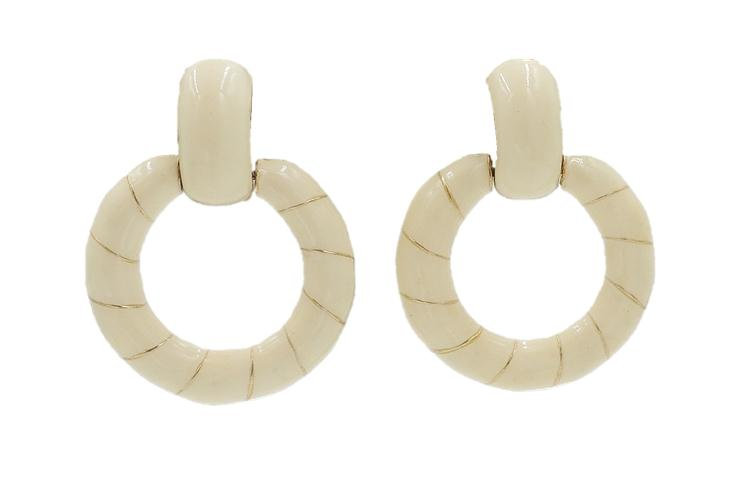 1970s Ciner Ivory Enamel Striped Hoop Earrings