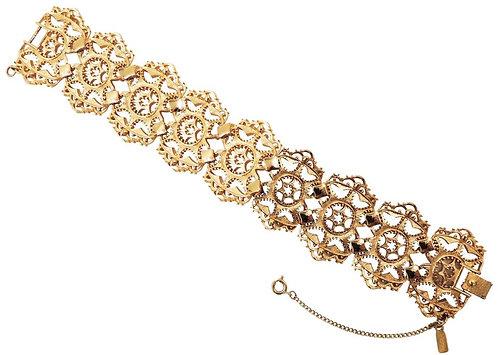 """Monet Goldtone Cut Out """"Taboret"""" Bracelet, 1967"""