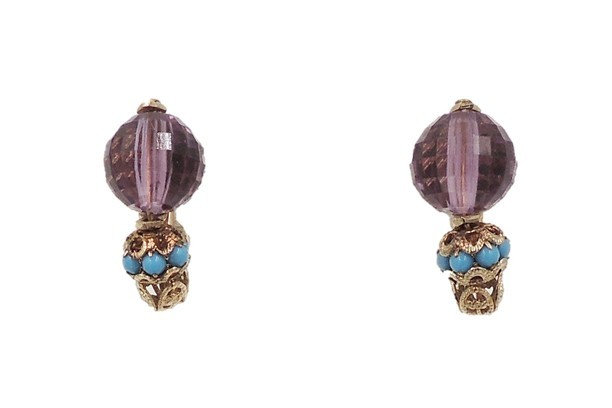1960s Napier Purple Bead & Faux-Turquoise Cabochon Earrings