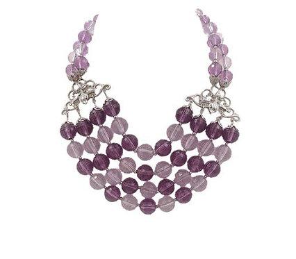 Napier Purple Beaded Bib Necklace