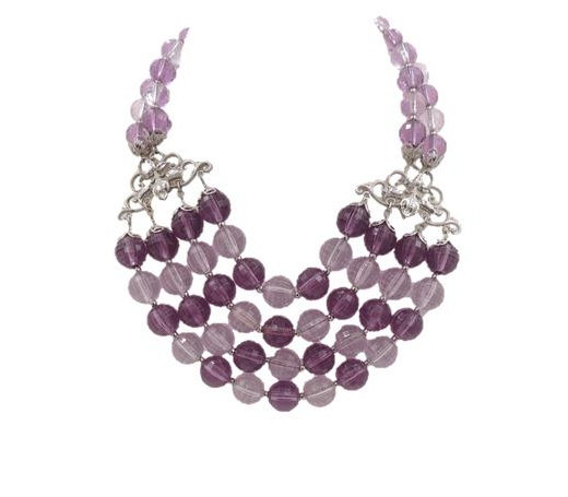 Napier Purple Beaded Bib Necklace