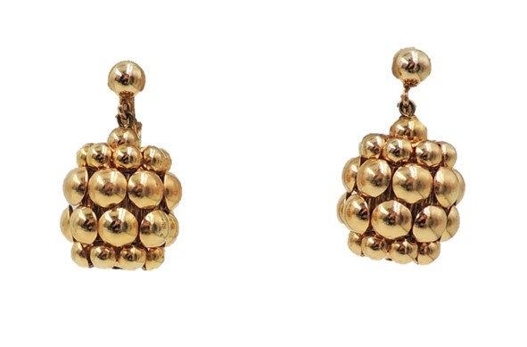 """Napier Book Piece Goldtone """"Bubble Texture"""" Drop Earrings"""