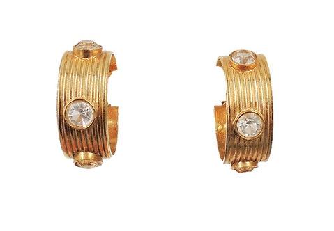 Circa 1980s Bijoux Cascio Italy Goldtone Clear Rhinestone Hoop Clip Earrings