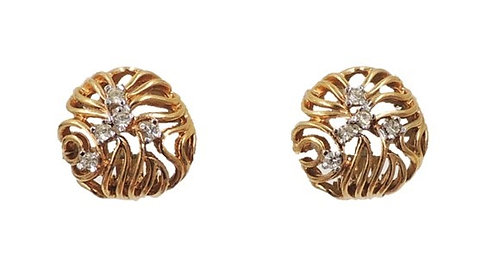 1960s Panetta Modernist Goldtone Rhinestone Earrings