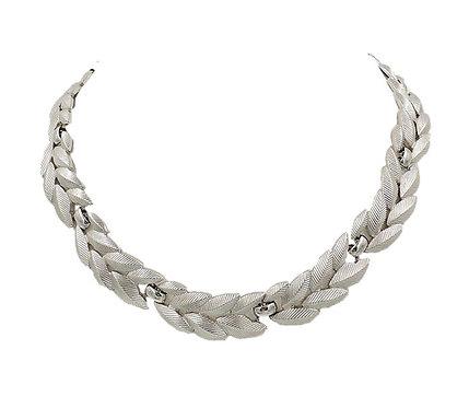 Monet Silvertone Leaves Collar Necklace, 1956