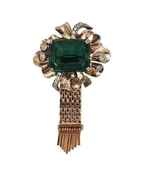 Kreisler Goldtone Faux-Emerald Fringe Brooch 1945