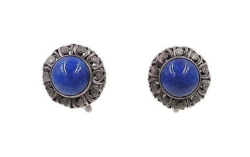 Napier Silvertone Faux-Lapis Cabochon Rhinestone Earrings