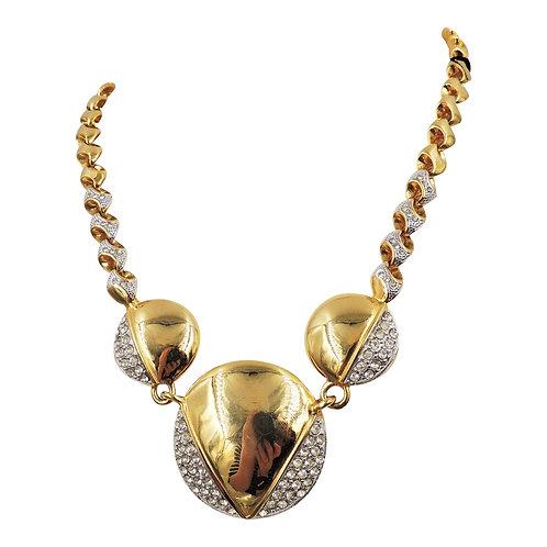 1980s Alexis Kirk Modernist Rhinestone Necklace