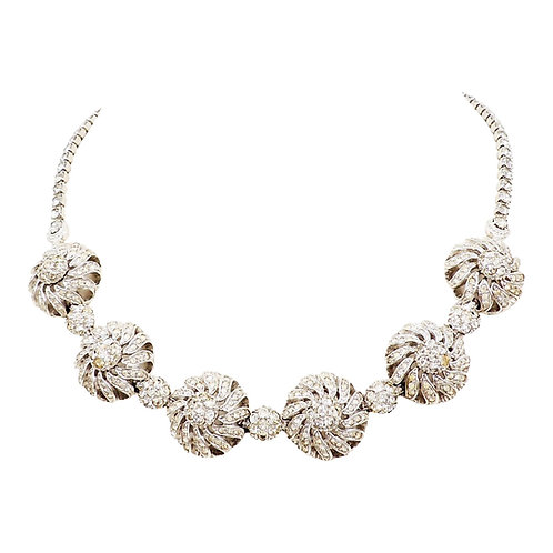 Pennino Rhodium Plate Clear Rhinestone Flower Necklace