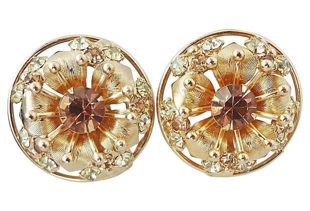 Vintage 1950s Signed Napier Flower Runway Couture Earrings