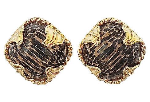 1980s Dominique Aurientis Striped Earrings