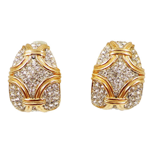 d46de1a5b97 1980s Ciner Goldtone Pavé Rhinestone Earrings