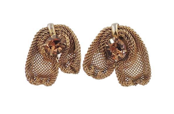 1950s Napier Book Piece Faux-Topaz Mesh Earrings