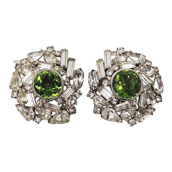 1960s Hobe Faux-Peridot & Clear Rhinestone Earrings