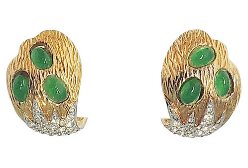 1960s Goldtone Faux Emerald Cabochon Paste And Pavé Clip Back Earrings Marked Jomaz Measure 1 Inch Long By 3 4 Inches Wide