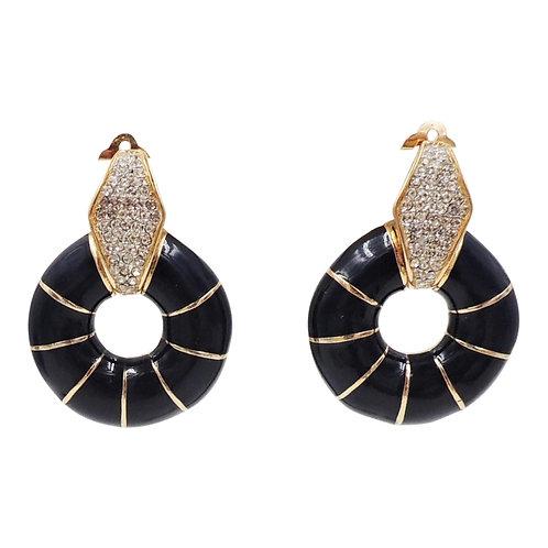 1980s Ciner Pavé Rhinestone & Blue Enamel Hoop Earrings