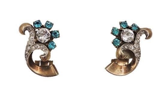WWII Era Signed Mazer Sterling Rhinestone Flower Earrings